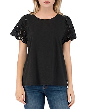 B Collection by Bobeau - Nola Eyelet-Sleeve Tee