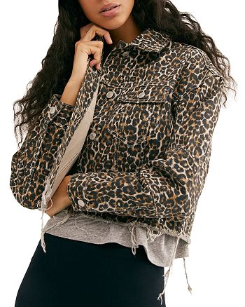 Free People - Leopard Print Cropped Denim Jacket