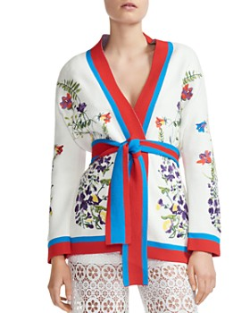 Maje - Manny Embroidered Belted Cardigan