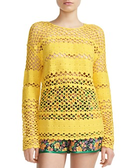 Maje - Melisse Crocheted Cotton Mesh Sweater