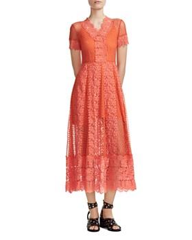 38e56887998905 Maje - Revanti Lace-Trim Midi Dress ...