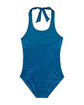 e03d57f16d0 ... Gossip Girl - Girls' Textured One-Piece Halter Swimsuit - Big Kid