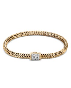 JOHN HARDY - 18K Yellow Gold Classic Chain Diamond Extra-Small Bracelet