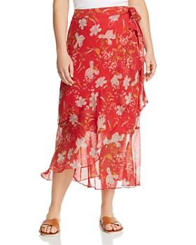 VINCE CAMUTO Plus - Floral Midi Wrap Skirt