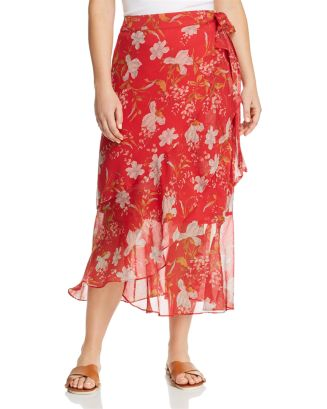 Floral Midi Wrap Skirt by Vince Camuto Plus