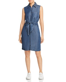 Level 99 - Olivia Tie-Front Chambray Shirt Dress
