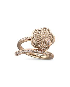 Pasquale Bruni - 18K Rose Gold Joli White & Champagne Diamond Flower Bypass Ring