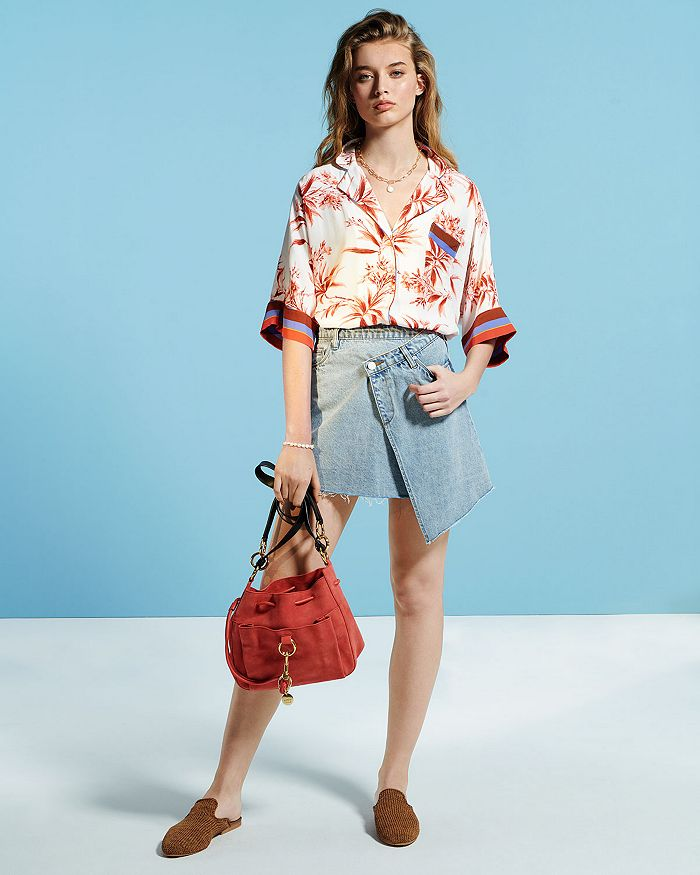 BLANKNYC - Crossover Denim Skirt, Joie Floral Blouse & More