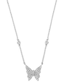Bloomingdale's - Diamond Butterfly Pendant Necklace in 14K White Gold, 0.20 ct. t.w. - 100% Exclusive
