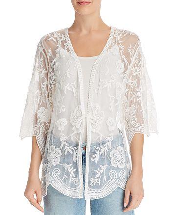 AQUA - Embroidered-Mesh Kimono - 100% Exclusive