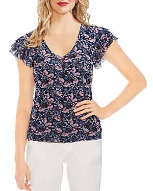 Vince Camuto Tops FLORAL MESH TIERED-SLEEVE TOP