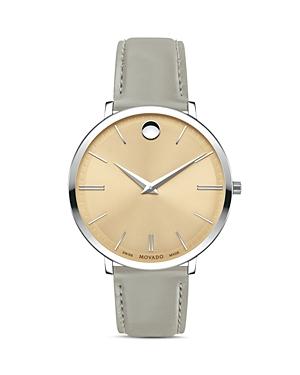 Movado Ultra Slim Gray Leather Strap Watch, 35mm