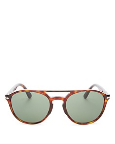 Persol - Men's Brow Bar Round Sunglasses, 55mm