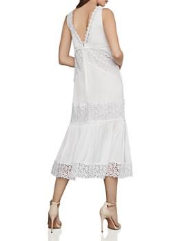 228f121a9c81f ... BCBGMAXAZRIA - Lace-Trim Satin Midi Dress