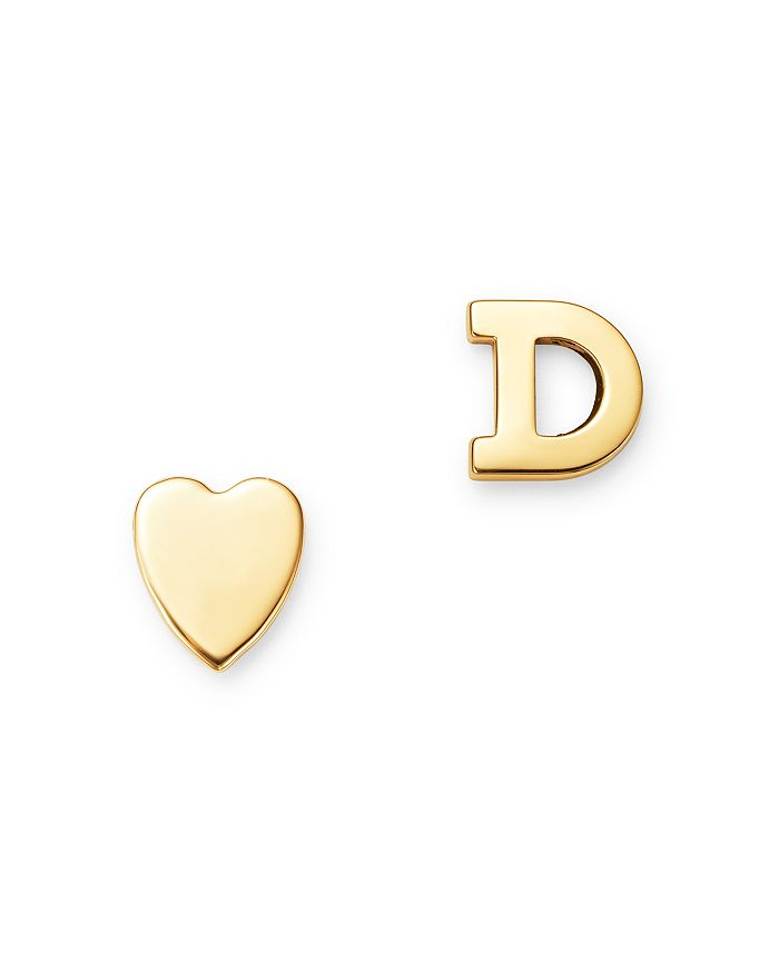 Zoe Lev - 14K Yellow Gold Heart & Initial Stud Earrings