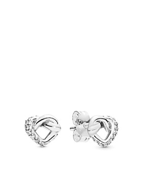 966a2569b Pandora - Sterling Silver Knotted Heart Stud Earrings