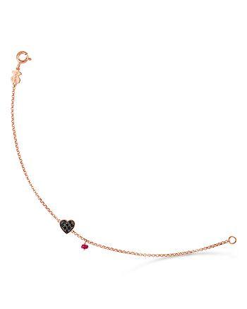TOUS - 18K Rose Gold-Plated Sterling Silver Heart Ruby & Spinel Bracelet