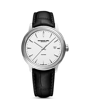 Raymond Weil - Maestro Black Leather Strap Automatic Watch, 39.5mm