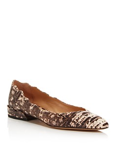 Chloé - Women's Laurena Embossed Leather Ballerina Flats