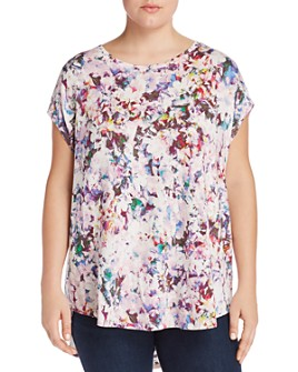 Cupio Plus - Abstract Floral Print Top