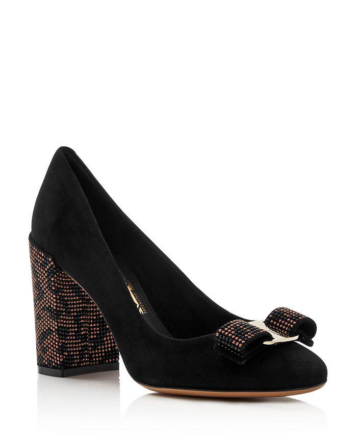 Salvatore Ferragamo - Women's Vara Suede Embellished Block-Heel Pumps