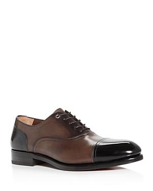 Salvatore Ferragamo Men's Baron Leather Cap-Toe Oxfords In Nero