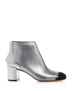 Salvatore Ferragamo - Women's Atri Cap-Toe Metallic Leather Ankle Booties