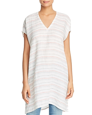 Eileen Fisher Striped Organic Linen Tunic Top