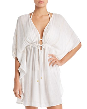 Bleu Rod Beattie - Metallic Striped Caftan Swim Cover-Up