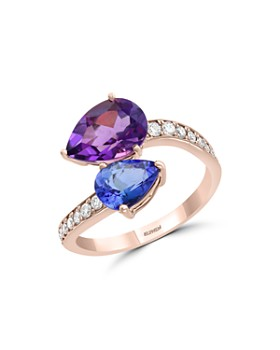 Bloomingdale's - Amethyst, Tanzanite & Diamond Ring in 14K Rose Gold - 100% Exclusive