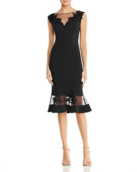 Aidan Mattox - Scuba-Crepe Illusion Dress