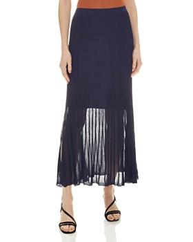 Sandro - Emanuelle Pleated Metallic-Knit Midi Skirt