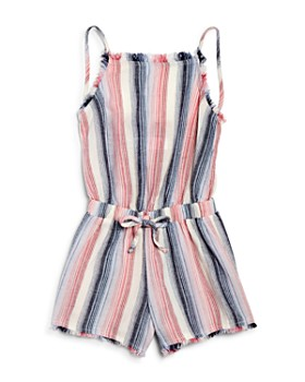 Bella Dahl - Girls' Striped Smocked-Back Romper - Little Kid, Big Kid