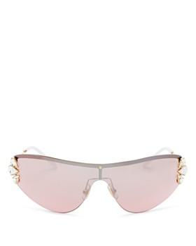 1a9add2ce356 Miu Miu - Women's Embellished Rimless Shield Sunglasses, ...