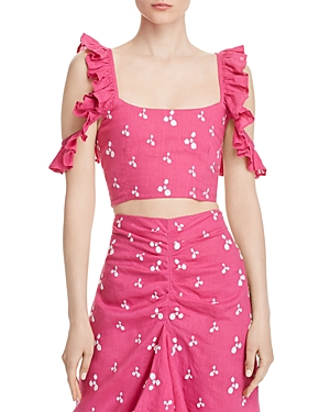 All Things Mochi Tops CONEY EMBROIDERED CROP TOP