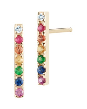 MATEO - 14K Yellow Gold Rainbow Gemstone & Diamond Bar Stud Earrings