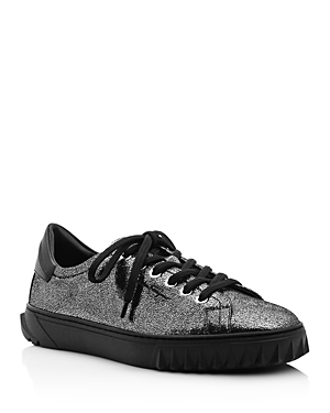 Salvatore Ferragamo Women's Cube Metallic Leather Lace-Up Sneakers