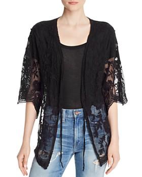 AQUA - Embroidered-Mesh Cardigan - 100% Exclusive