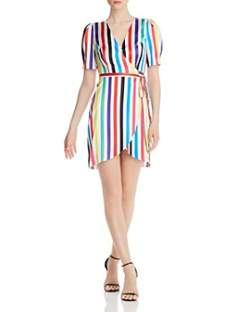 AQUA - Rainbow-Stripe Wrap Dress - 100% Exclusive