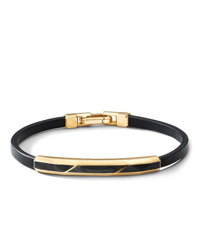 David Yurman - Faceted ID Black Leather Bracelet with Forged Carbon & 18K Yellow Gold