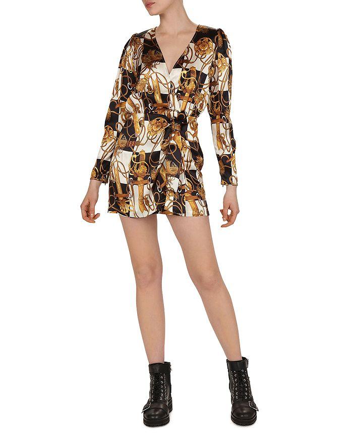 The Kooples - Damier Equestrian-Print Silk Dress