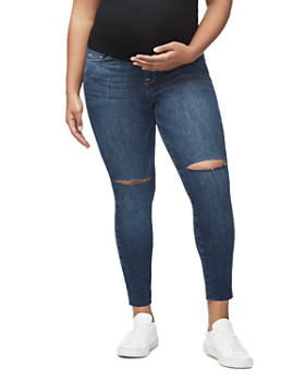 Good American - Home Stretch Ankle Skinny Maternity Jeans in Blue306