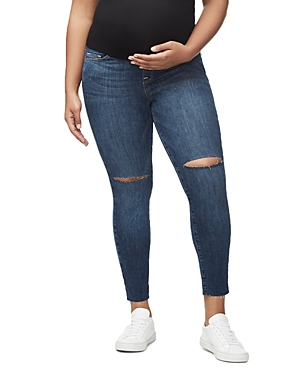 Good American Home Stretch Ankle Skinny Maternity Jeans in Blue306-Women