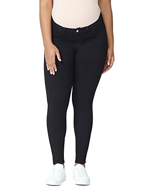 Good American Good Mama Waist-Inset Skinny Maternity Jeans in Black001-Women