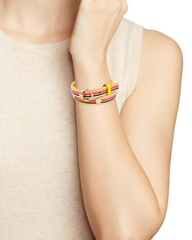 Tory Burch - Printed Reversible Leather Wrap Bracelet