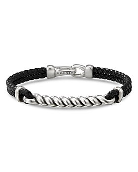 David Yurman - Sterling Silver & Leather Cable I.D. Bracelet