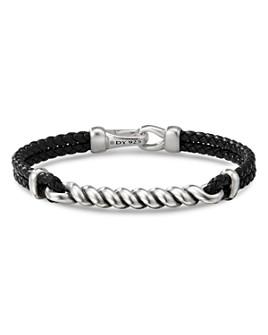 David Yurman - Sterling Silver & Leather Cable I.D. Bracelet