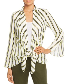 Kenneth Cole - Striped Layered Tie-Front Shirt