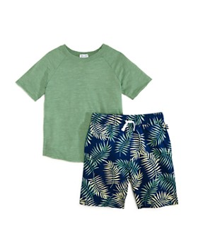 Splendid - Boys' Raglan Tee & Palm-Print Shorts Set - Little Kid, Big Kid