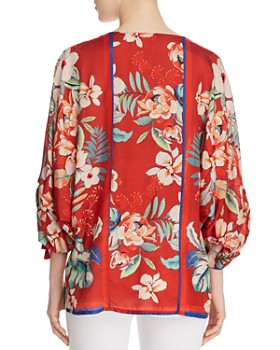 Johnny Was - Evy Printed Ruched-Sleeve Silk Top